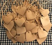100 Heart 1-3/4 Valentines Coffee Stained Antique Primitive Price Hang Tags Lot