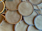 10 Xlarge 2-1/4 Metal Rim Round Circle Coffee Stained Primitive Gift Hang Tags
