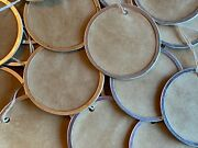 25 Xlarge 2-1/4 Metal Rim Round Circle Coffee Stained Primitive Gift Hang Tags