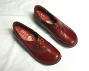 Spring Step Womens Clogs Burbank Red Leather Size 41 Us 9.5-10
