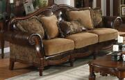 Traditional Living Room Furniture 2 Tone Brown Pu And Chenille Fabric 1piece Sofa