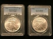 1986 And 1996 1 American Eagle Silver Dollars Pcgs Ms69 1oz .999 ++key Dates++