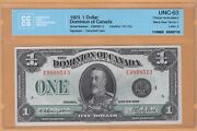 Dominion Of Canada 1 Dollar Cccs-63 Unc 1923 Dc-25o Letter A Banknotes