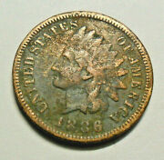 1886 P Indian Head Cent Penny Type 1 T1 Fine Details Free Shipping