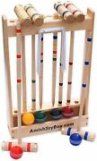 Amishtoybox.com Deluxe Maple-wood Croquet Game Set 6 Player