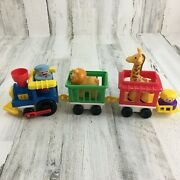 Vtg 1991 Fisher Price Little People Chunky Circus Train Set Zoo Animals Figures