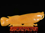 20 China Yellow Jade Hand-carved Fengshui Exquisite Fish Goldfish Wealth Statue