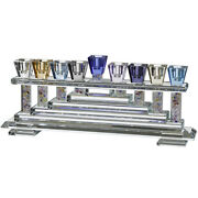 Crystal Menorah Colorful Home Decor Hanukkah Candle Traditional Style 31x12cm
