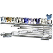 Crystal Menorah Colorful Home Decor Hanukkah Candle Traditional Style 28x9cm