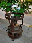 Antique Brass Kerosene Stove With Handle Stand Bhimra Fire And Rose Kitchenware