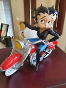 Extremely Rare Betty Boop Sitting On Red Motorcycle Figurine Statue