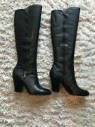 Never Worn Donald J Pilner Size 7.5 Black Leather Knee High Boots New With Box
