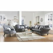Contemporary Living Room Furniture Gray Velvet Sofa Set Button Tufted Rolled Arm