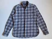 Tom Ford Slim Fit Button Down Collar Checked Cotton Shirt Flannel Size 43 Gray