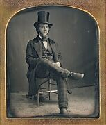 Full Length Bearded Man With Top Hat Harrisburg Pa 1/6 Plate Daguerreotype G660