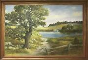 Wendell Rogers Untitled - Path To A Pond Oil On Canvas Signed L.l.