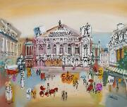 Charles Cobelle Opera Garnier Plaza 2 Acrylic On Canvas Signed Lower Right
