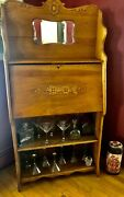 Antique Vintage Secretary Desk Oak With Scroll Work And Pull Down Cabinet