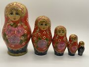 Vintage Russian Matryoshka Nesting Dolls Signed And Hand Painted Flower Scenes