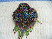 Vintage Native American Indian Beaded Leather Barrette Hair Clip