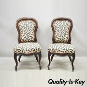 Laminated Rosewood John Henry Belter Victorian Slipper Lounge Chairs - A Pair