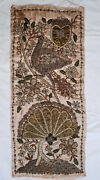 Antique Textiles Turkish Ottoman Metal Threads Embroidered Pillow Cover - Front