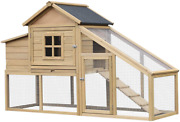 Pawhut 69 L Wooden Chicken Coop Hen House With Nesting Box And Run Outdoor
