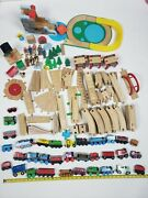 Thomas The Train Set W/ Wooden Tracks And Many Assorted Pieces Large Lot Niiiiice