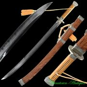 Sharp Chop Moon Knife Sword Pattern Steel Blade W Clay Tempered Full Tang 2999