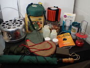 Large Lot Of Vintage Camping Gear Pur Water Filter Stove Heater Canteens Lantern