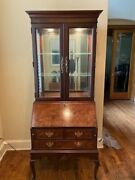 Hekman Burled Wood Queen Anne Secretary Desk With Lighted Cabinet