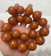 Magnificent Antique 1900s Old Pressed Natural Baltic Amber Round Beaded Necklace