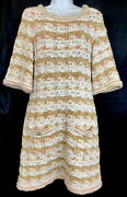Dress Tan And Off-white Crocheted Knit Half Sleeve Pockets Size 40
