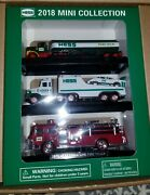 Nib Hess 2018 Mini Collection 1970 Fire Engine 1977 Tanker And 1988 Truck/race Car