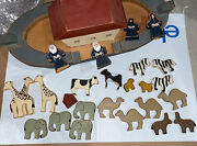 Childs Folk Art Wooden Noahs Ark Toy W/animals And People Vintage Extra Pieces