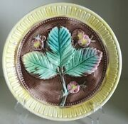 Pretty/old Majolica 3-leaf Floral Plate Nice And Vivid Colors Circa 1880s