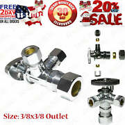 Dual Compression Outlet Angle Stop Valve, Plumbing Fitting, Quarter Turn, Single