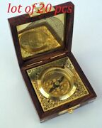 Brass Magnetic Nautical Compass In Wooden Box Collectible Gift Decor Free Ship