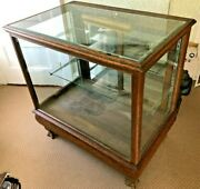 Antique Late Victorian Oak Store Display Cabinet Circa 1890and039s Beautiful No Res