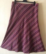 Pre-ownedhardly Wornper Una Deep Wine/ Yellow Strippe A-line Maxi Skirt Size18