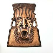African Hammered Copper Hand Made Tribal Mask Wall Hanging Art Decor 13 X 8