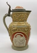 Antique 19th Century Villeroy And Boch Mettlach Figural Cameo Stein