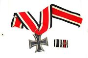 Antique Ww1 German Silver Iron Cross Medal With Dress Ribbon Miniature