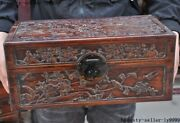 Antique Chinese Huanghuali Wood Flower Bird Jewelry Vessel Box Storage Boxes
