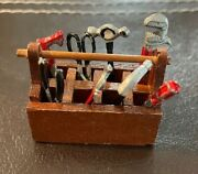 Vintage Dollhouse Miniature Tool Box And Tools Lot And Mouse Trap And Coat Rack