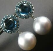 Large 6ct Aaa Blue Topaz And South Sea Pearl 18k White Gold Round Hanging Earrings
