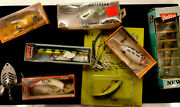 Vintage Antique Fishing 8 Lures 7 In Orig Boxes Fishing Hunting Outdoor Decor