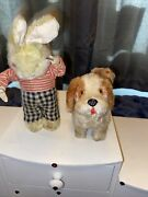 Vintage Wind Up Toys Rabbit And Puppy Dog Both Working Awesome Set 2 Rare ✅out