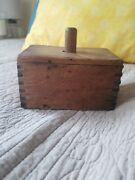 Vintage Wooden Butter Mold Press And Paddle Dovetailed Primitive