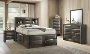 New Gray Storage Queen Or King 5pc Bedroom Set Modern Furniture B/d/m/n/c